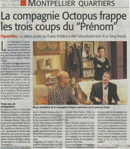 La Compagnie Octopus frappe les trois coups du «Prénom».. Article midi libre