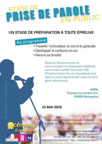 STAGE DE PRISE DE PAROLE EN PUBLIC Samedi 12  Mai 2018