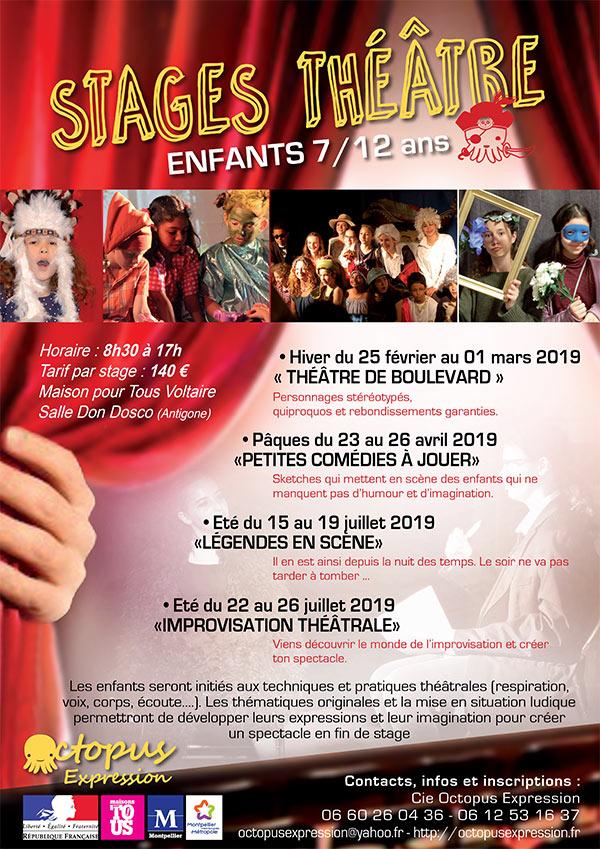 Nos stages théâtre enfants 7/12 ans 2018/2019