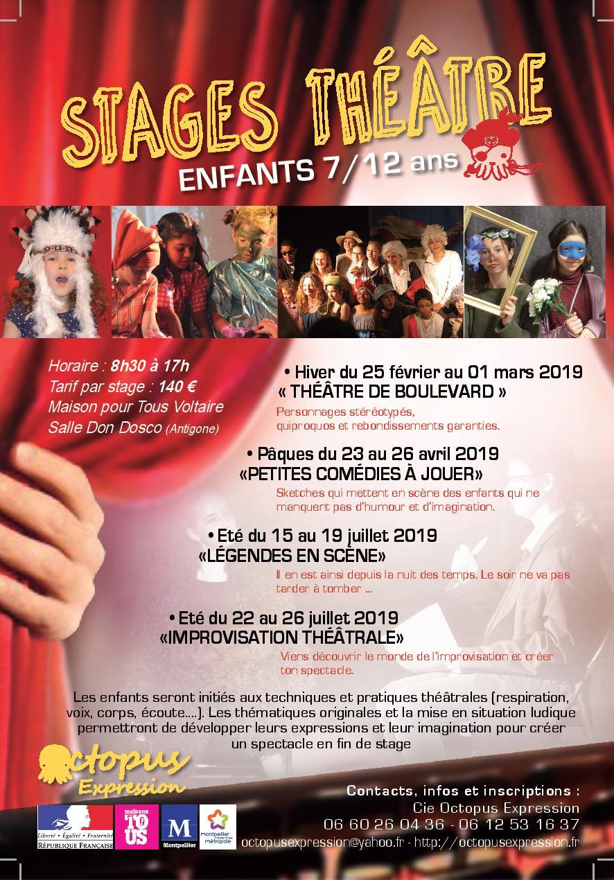 LES STAGES DE THEATRE POUR ENFANTS 7/12 ANS