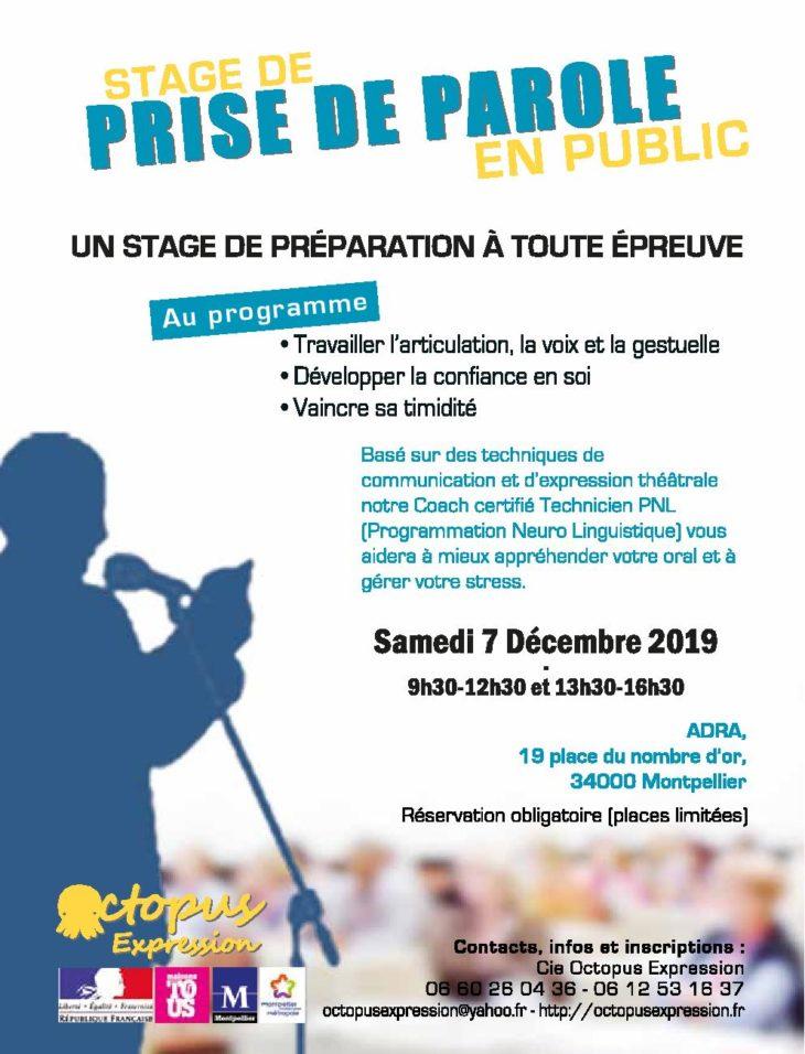 Premier Stage de Prise de parole public en Décembre